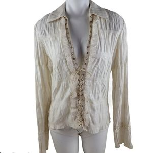 Tempo Peris cream blouse top size large